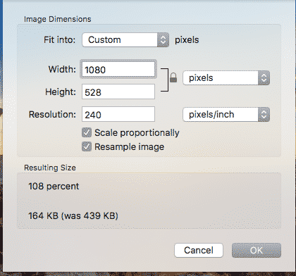 OSX preview image resize