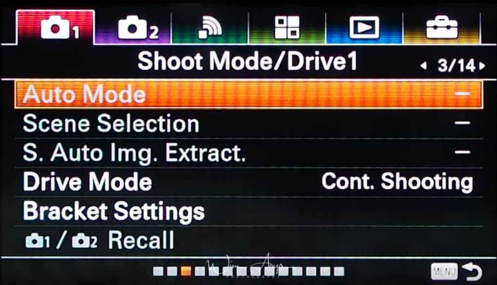 Shoot and Drive mode settings page 1red camera icon page 3
