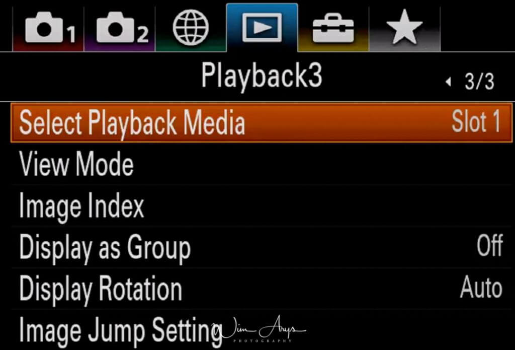 Playback settings page 3