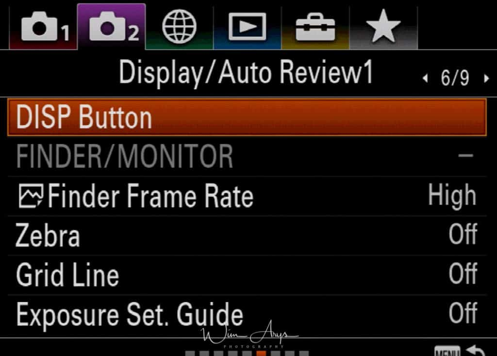 Sony A9 menus purple camera icon page 6