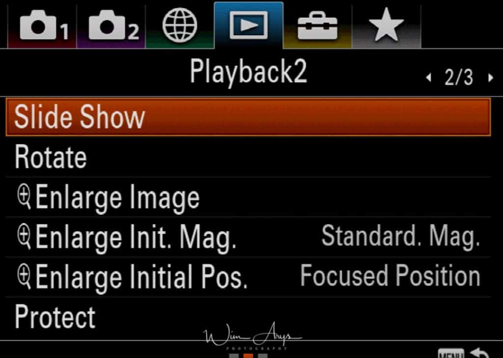 Sony A9 playback icon page 2