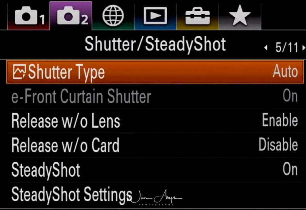 Shutter and SteadyShot Settings