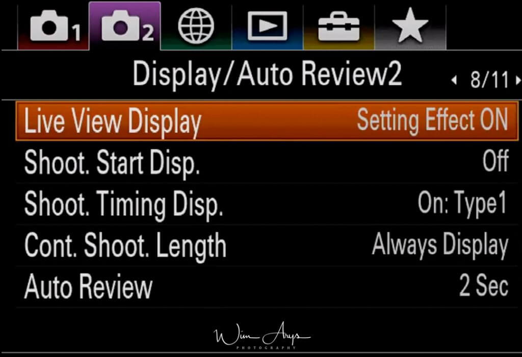 Display and Audio review settings page 2