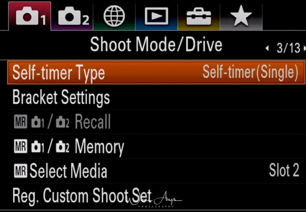Shoot Mode/Drive settings