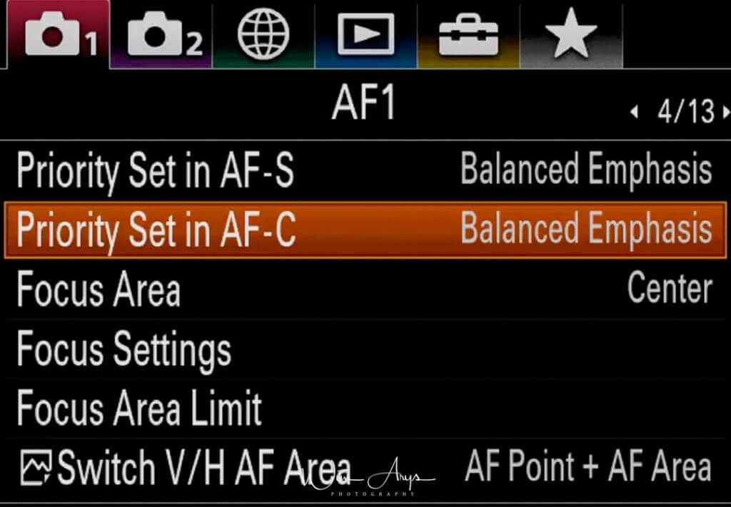 Autofocus settings page 1