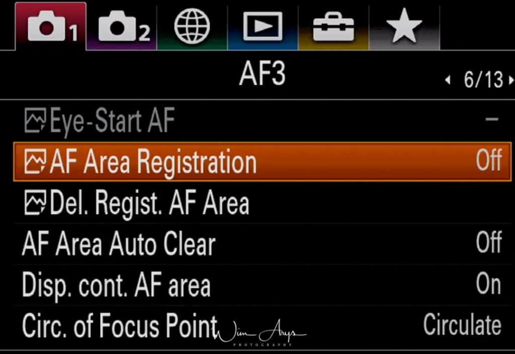 Autofocus settings page 3
