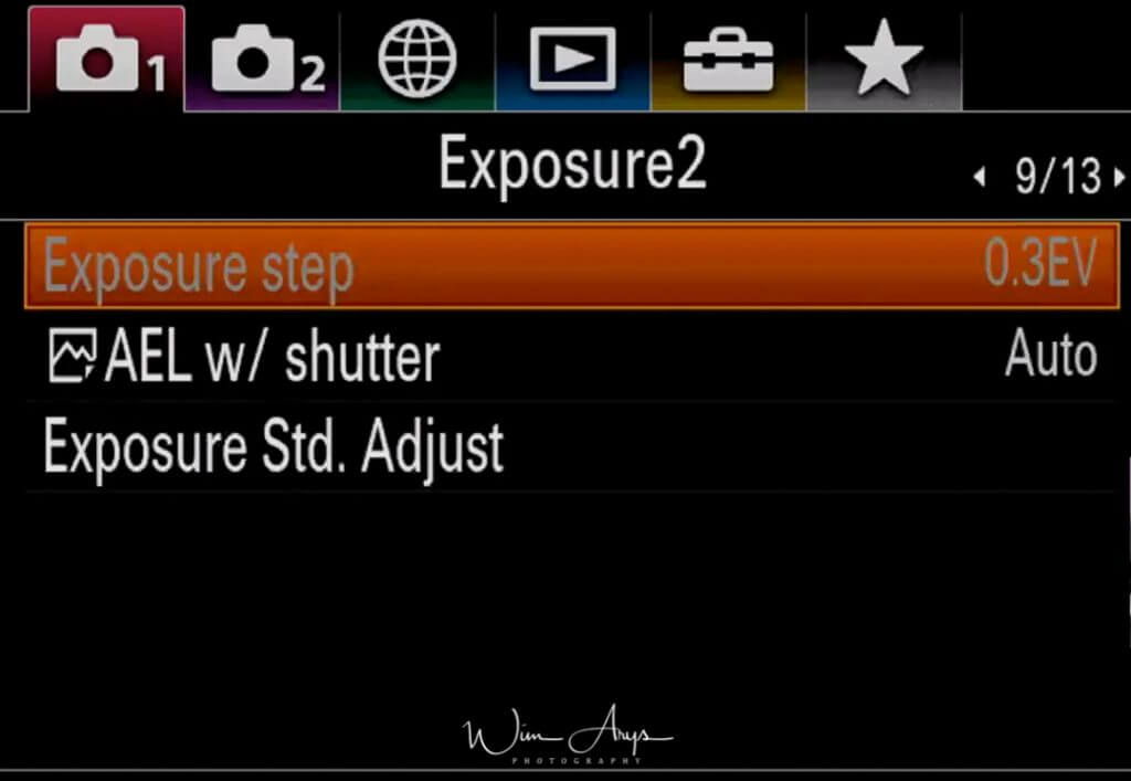Exposure settings page 2