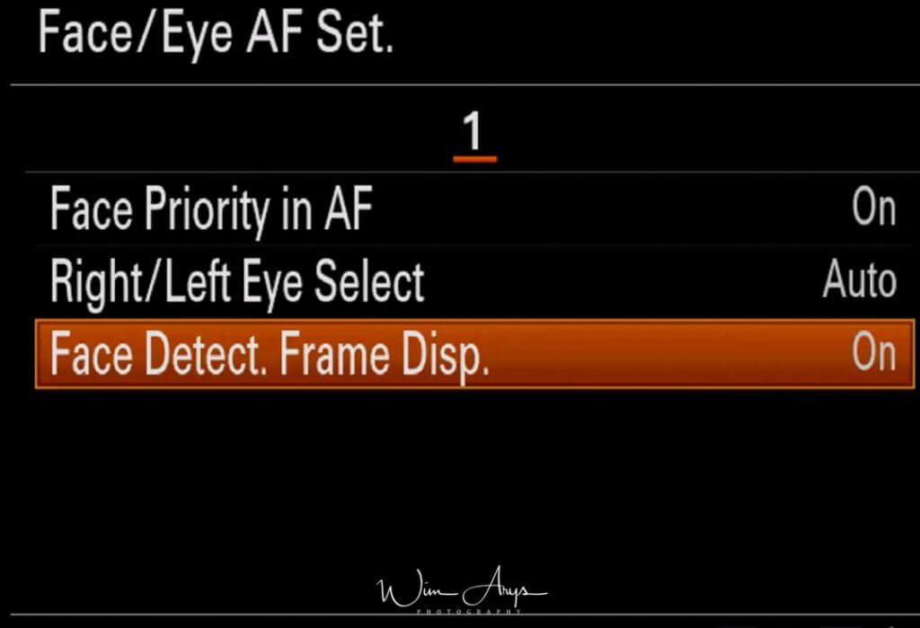 Eye AF set menu