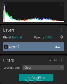 Luminar histogram, layers and filters pannel