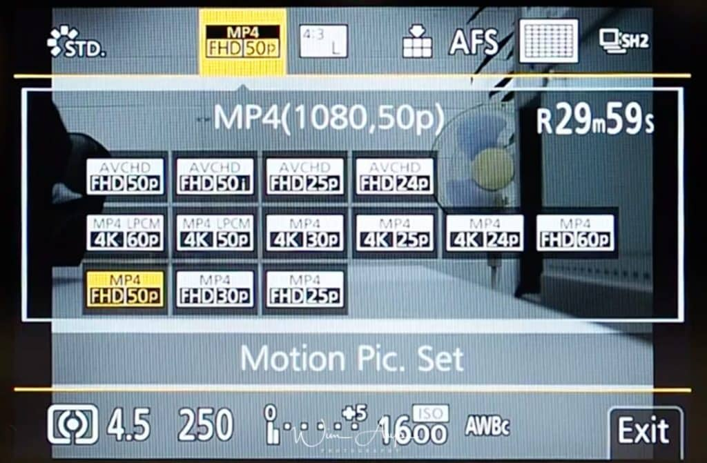 G9 Q Menu motion picture setting