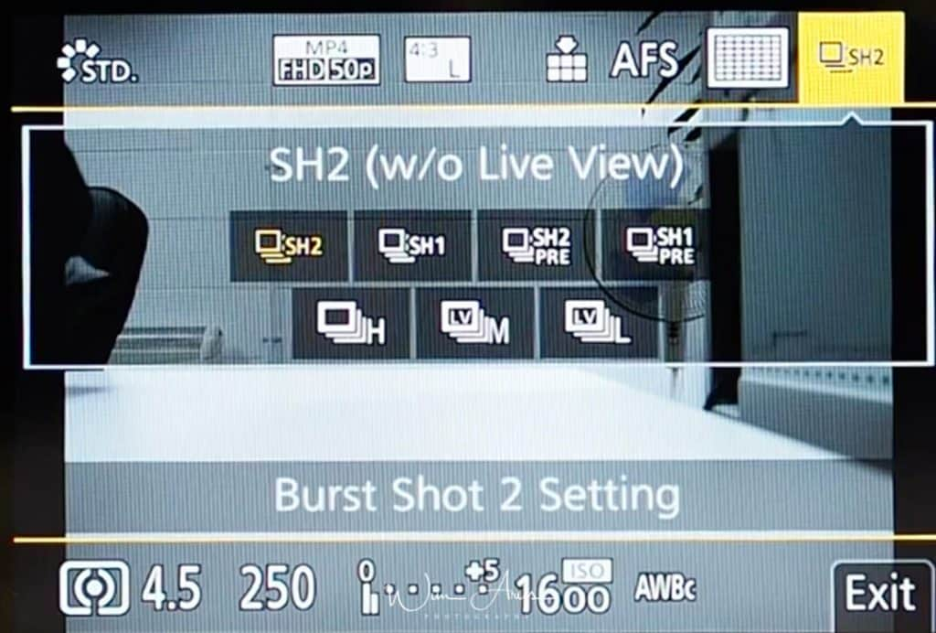 G9 Q Menu Burst shot settings