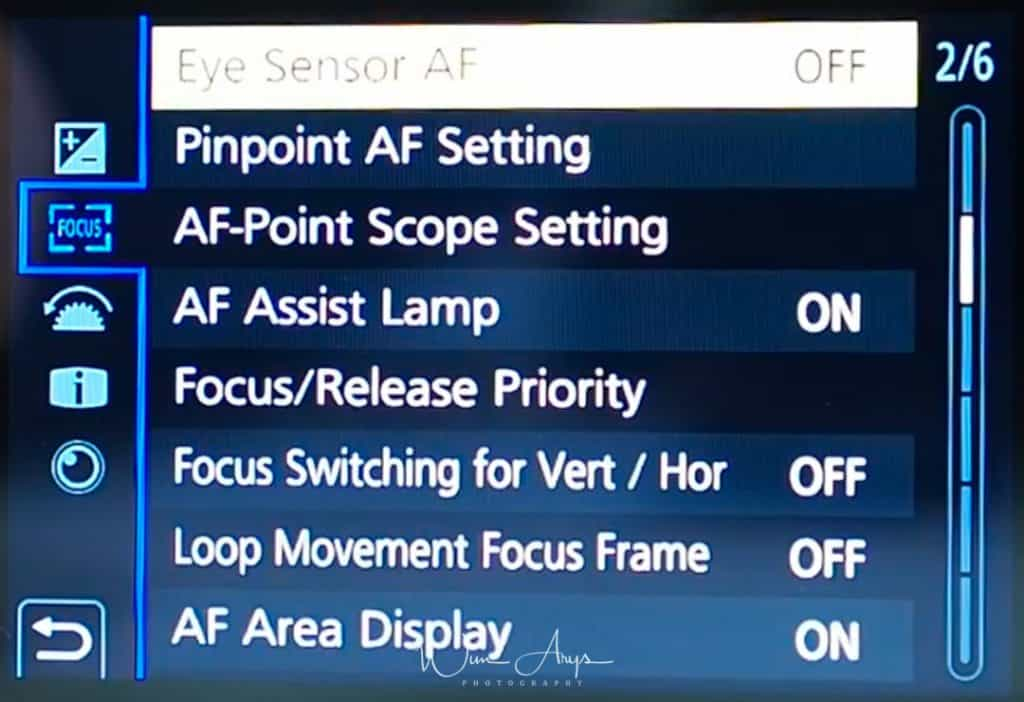 Custom Exposure settings G9 page 2