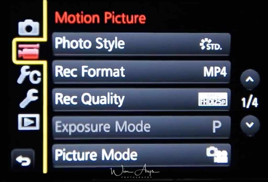 MENU → Film Camera Icon → page 1 of 4 (also called Motion Picture Menu)