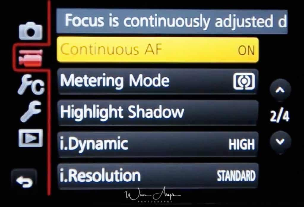 MENU → FilmCamera Icon→ page 2 of 4 (also called Motion Picture Menu)