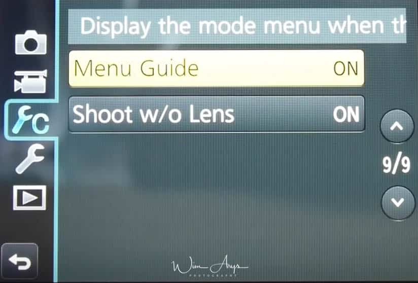 Panasonic GX80 custom menu page 9