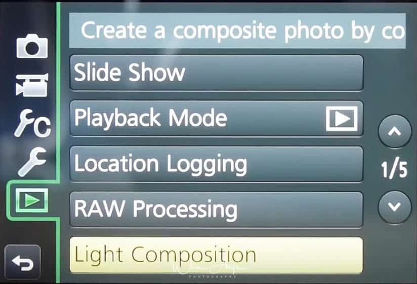 Panasonic GX80 playback menu page 1