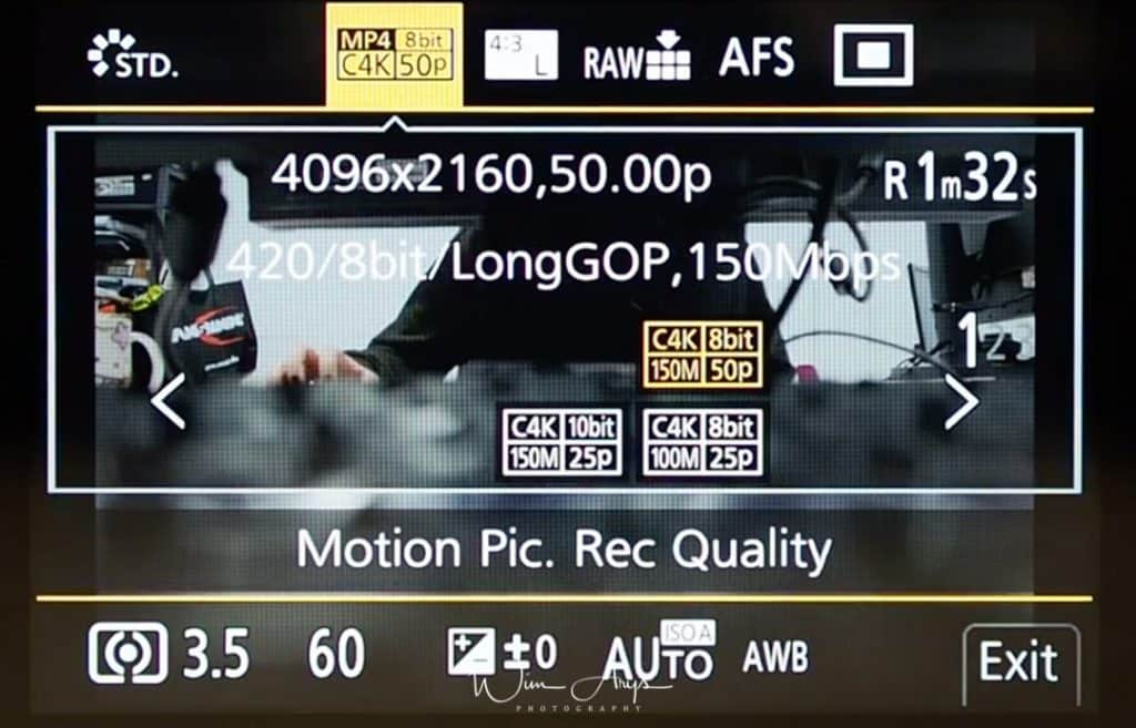 Q Menu Motion Picture settings