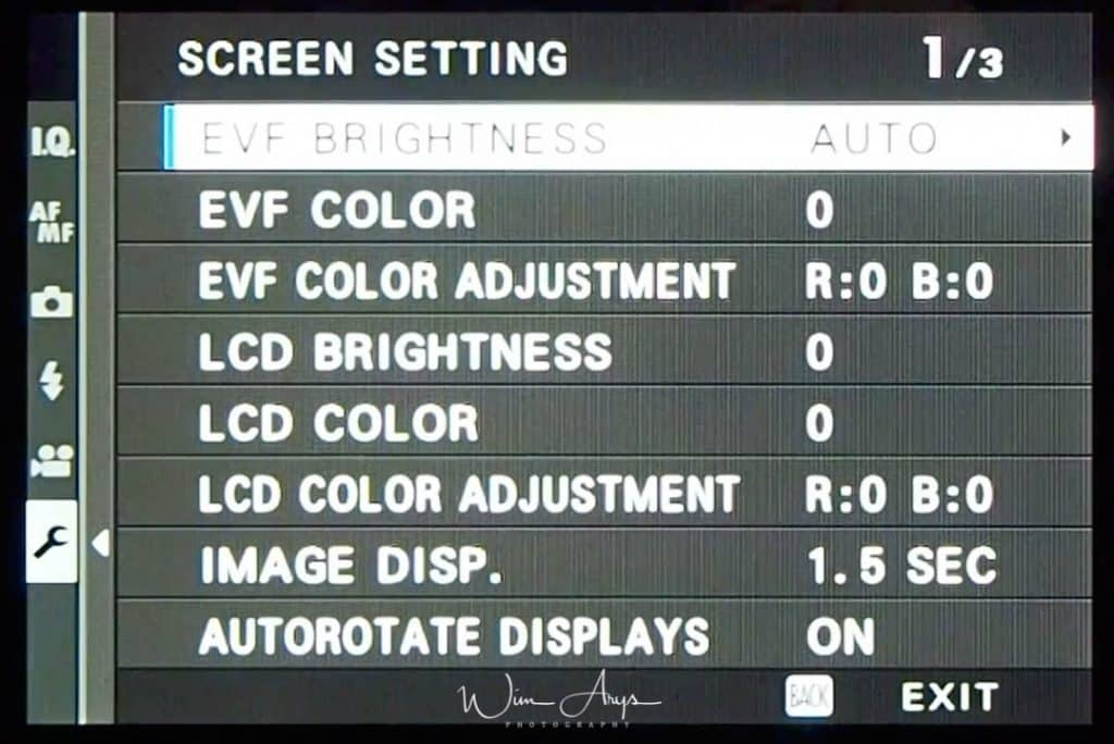 Screen Settings page 1 of 3