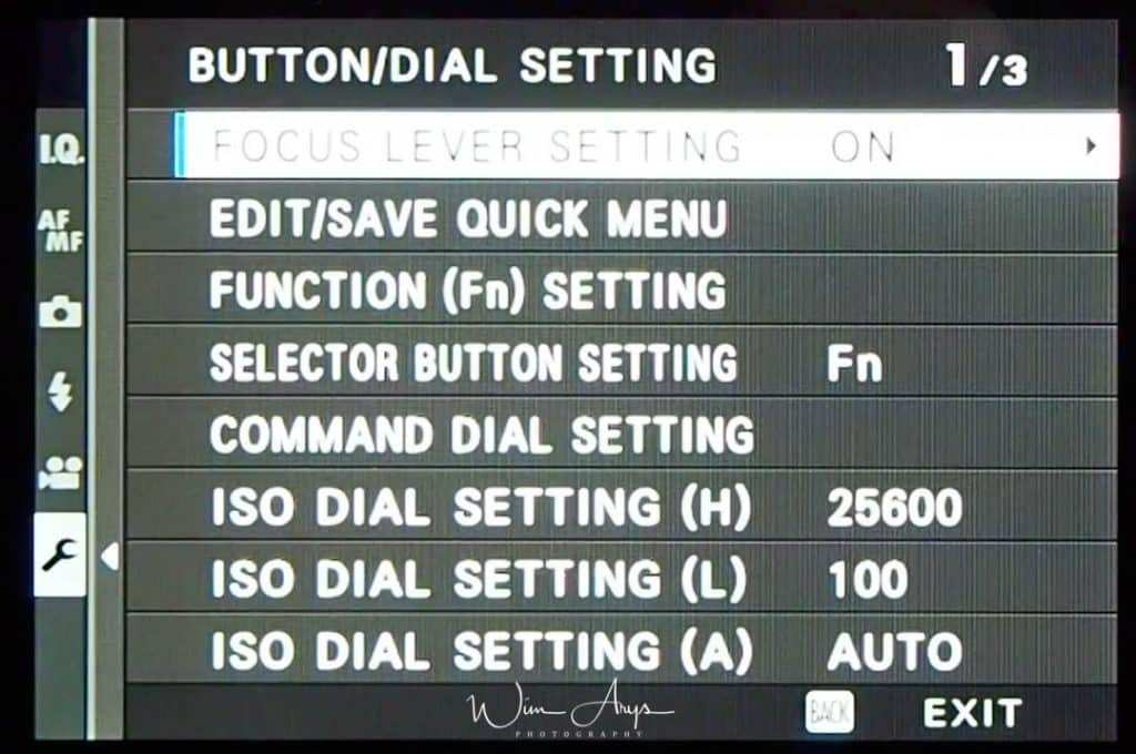 Button/Dial Setting page 1 of 3