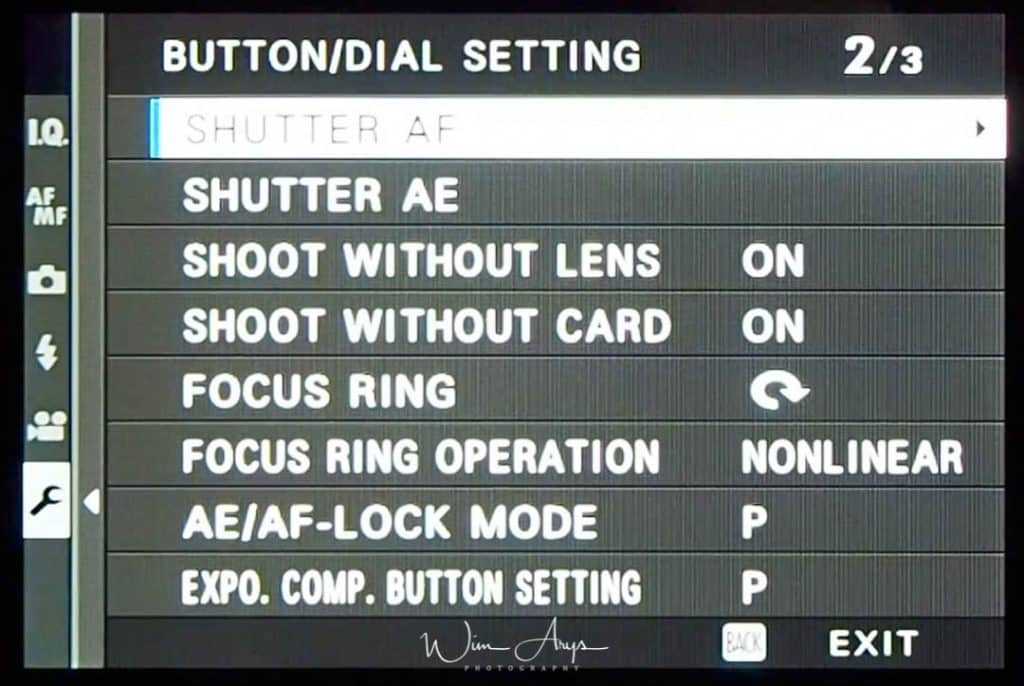 Button/Dial Setting page 2 of 3