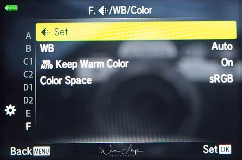Sound, white balance and color settings