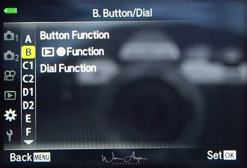 Button and dial settings