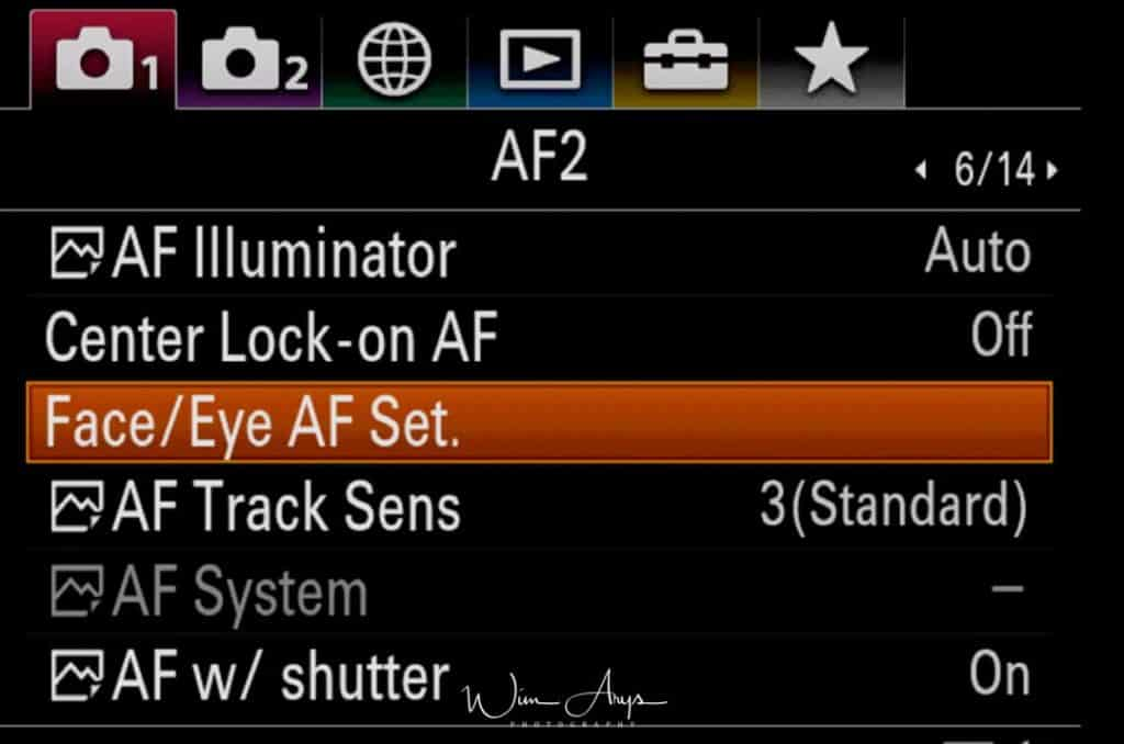 Autofocus settings page 2 (new v3 firmware)