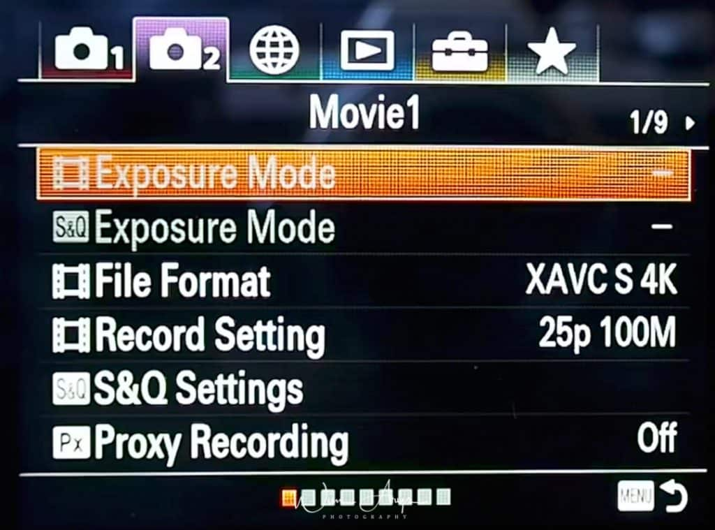 Movie exposure and general settings page 1