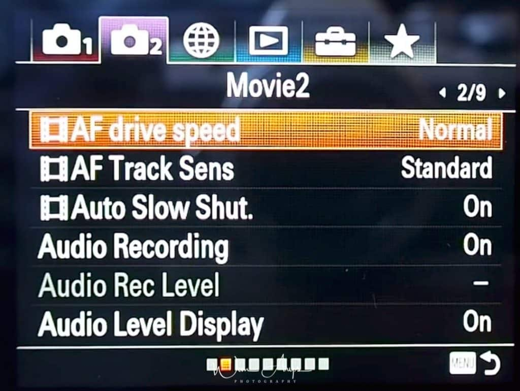 Movie autofocus and general settings page 2