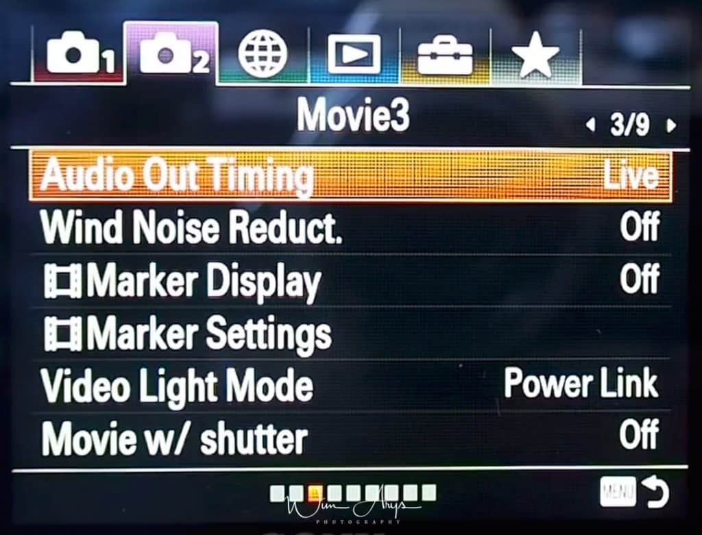 Movie autofocus and general settings page 3