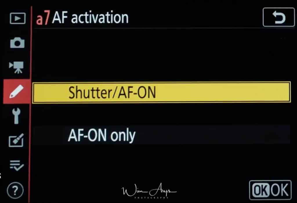 set AF activation to AF-ON