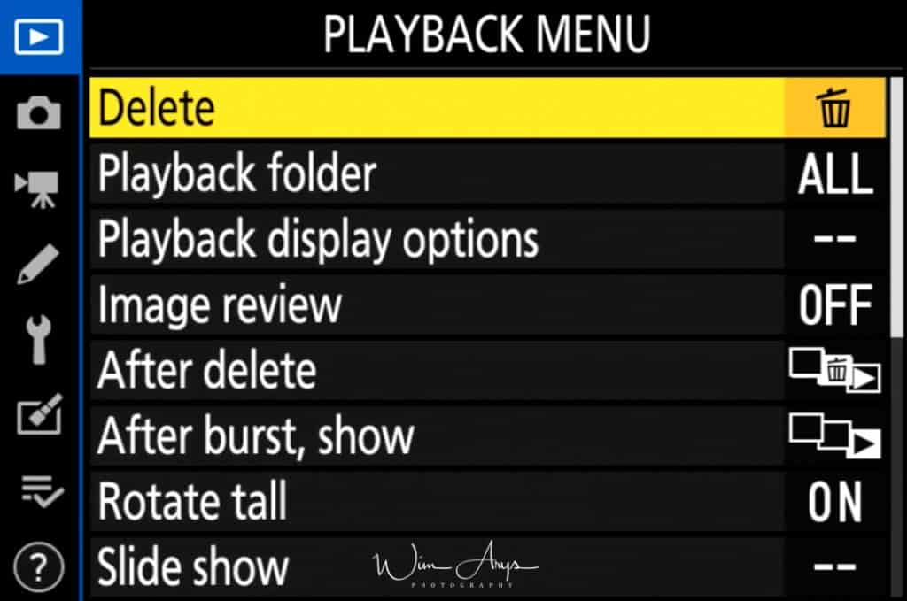 Playback Menu Page 1