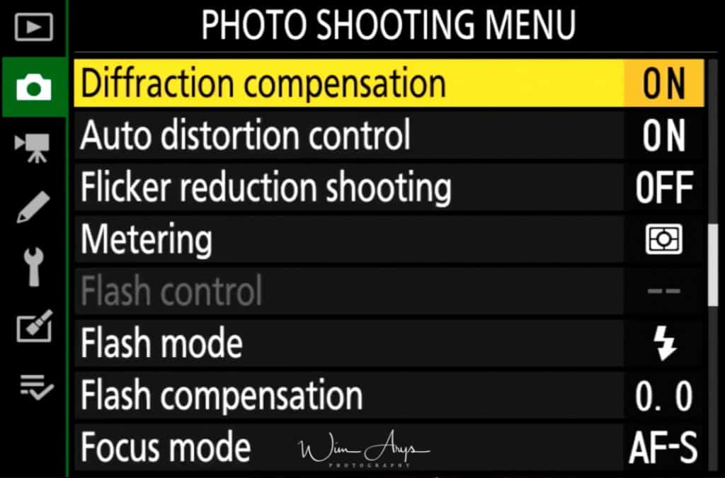 Photo Shooting Menu page 3