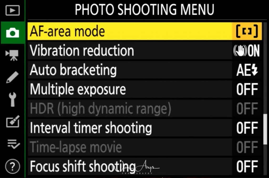 Photo Shooting Menu page 4