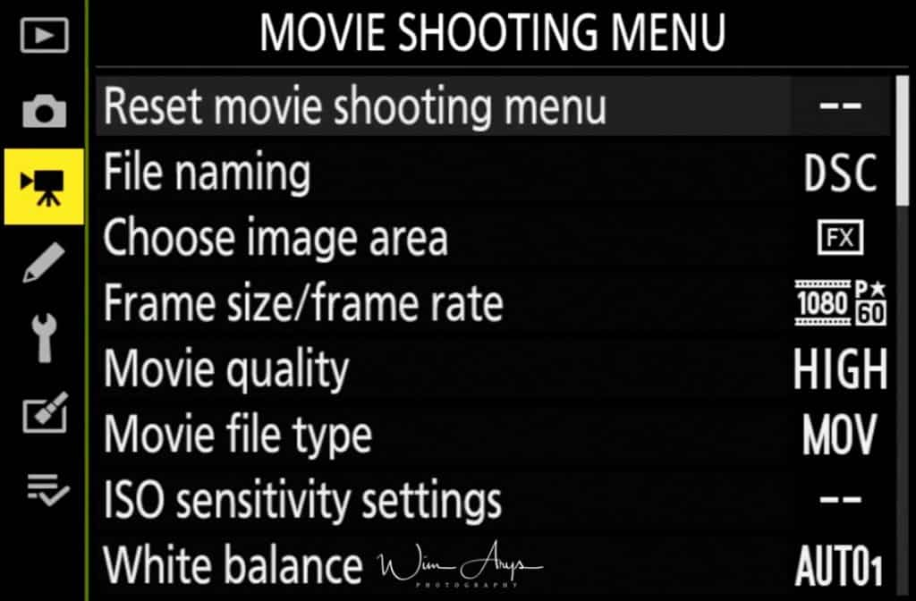 Movie Shooting Menu page 1