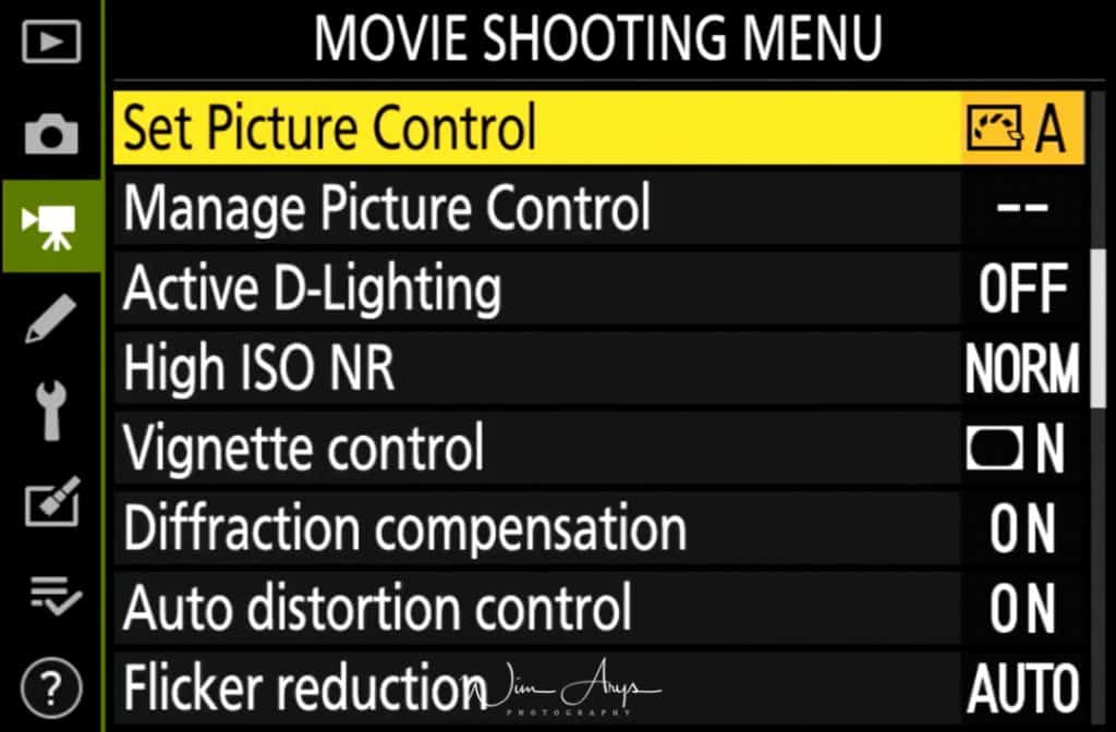 Movie Shooting Menu page 2