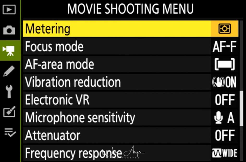 Movie Shooting Menu page 3