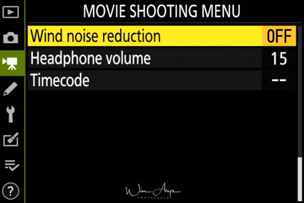 Movie Shooting Menu page 4