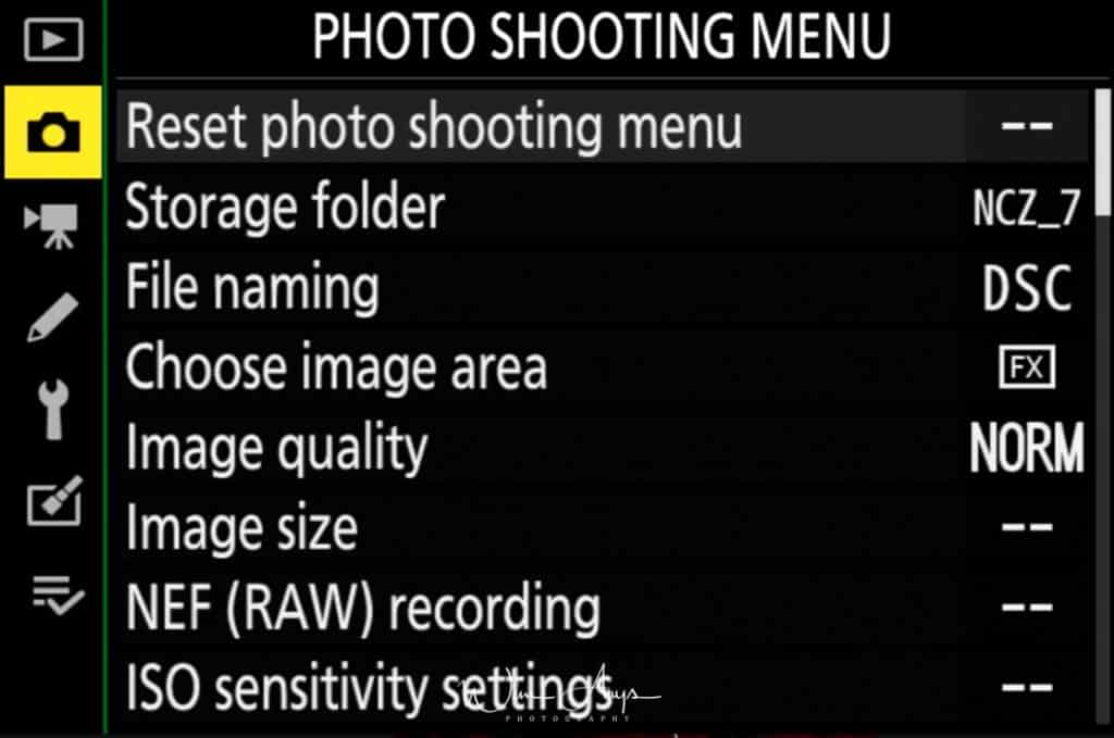 Photo Shooting Menu page 1