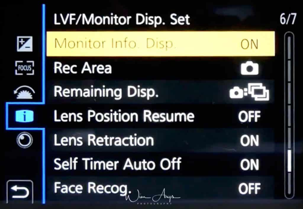 Monitor/ Display Menu page 6 of 7 (monitor and lens behaviour settings