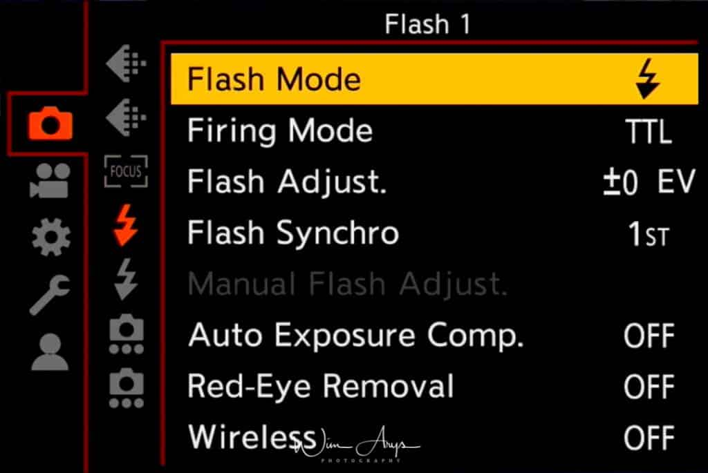 Panasonic S1R, photo settings, flash settings page 1