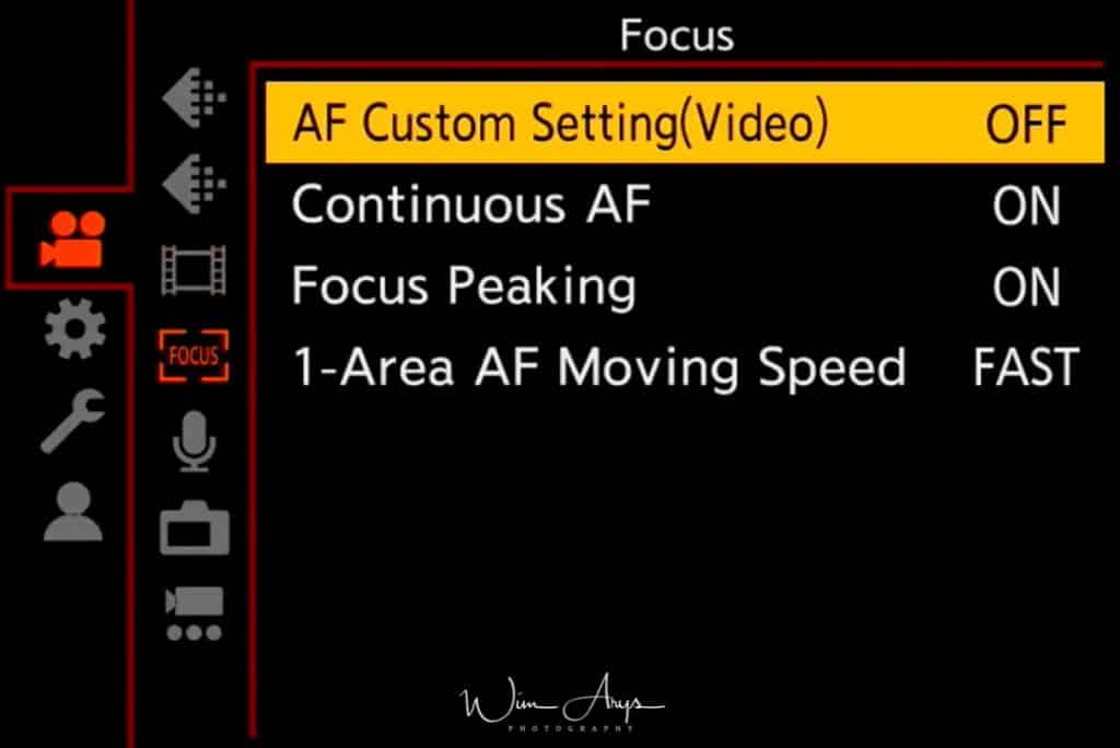 MENU → Video Menu →video focus settings