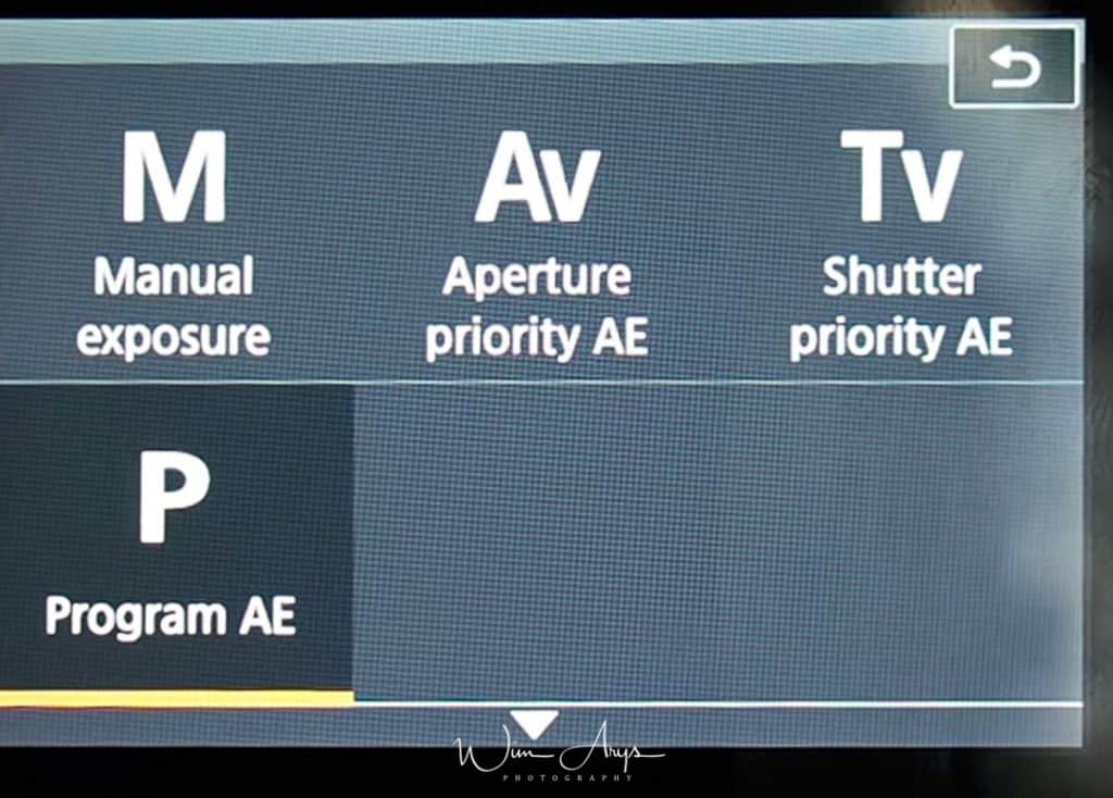 manual, aperture, shutter or program AE