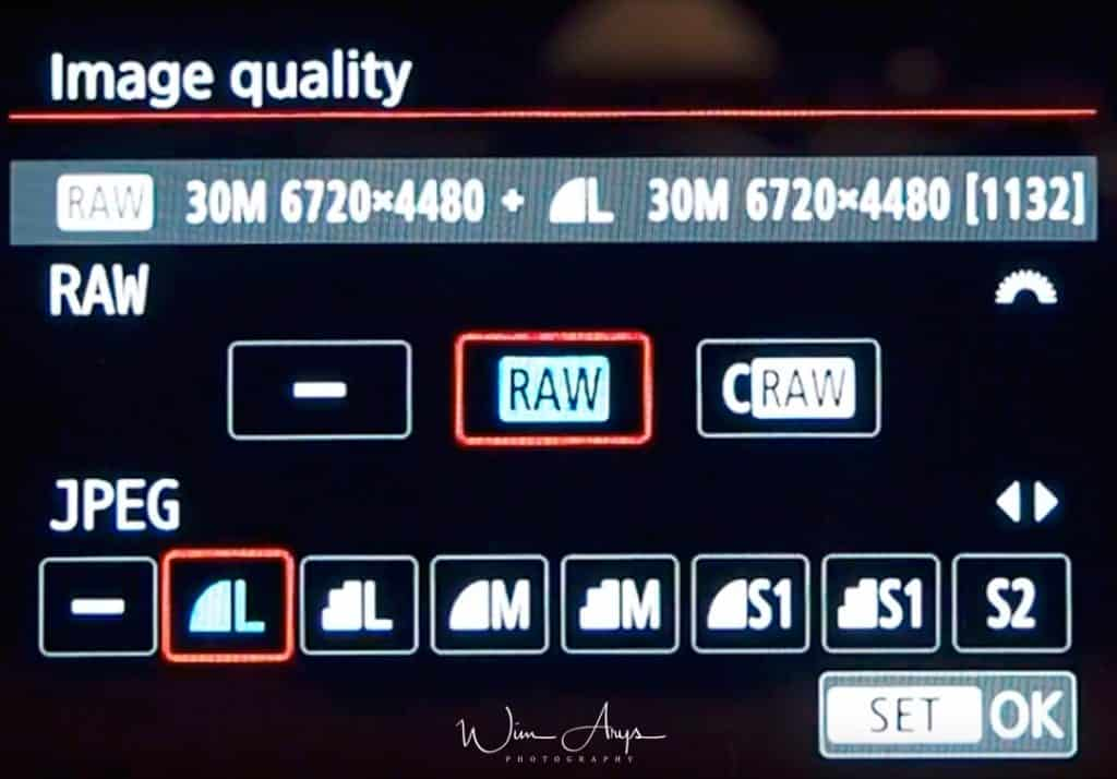 EOS R image quality settings