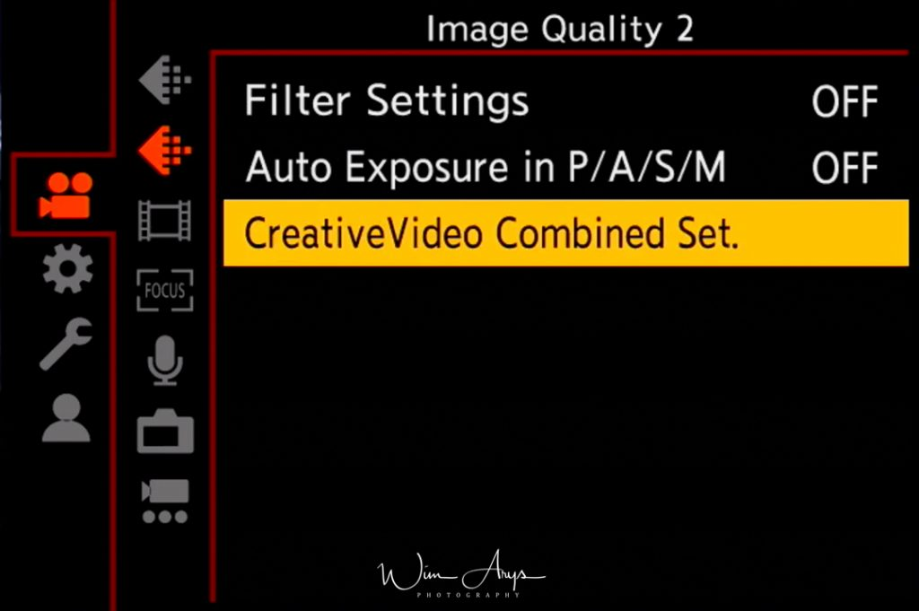 Panasonic S1, video menu, page 2