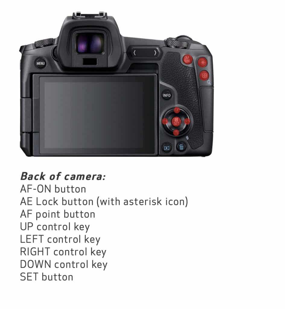 Canon EOS R customisable buttons back