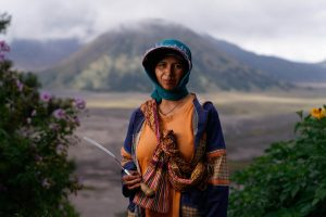 Spring onion farmer, Mount Bromo area, Indonesia