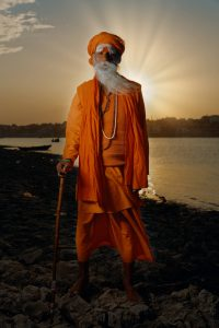 Sadhu on the Ganges river bank, Varanasi, India