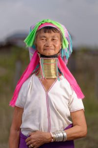 Older Karen long neck tribe woman