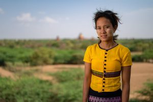 traditionally dressed girl, Bagan temples, Myanmar